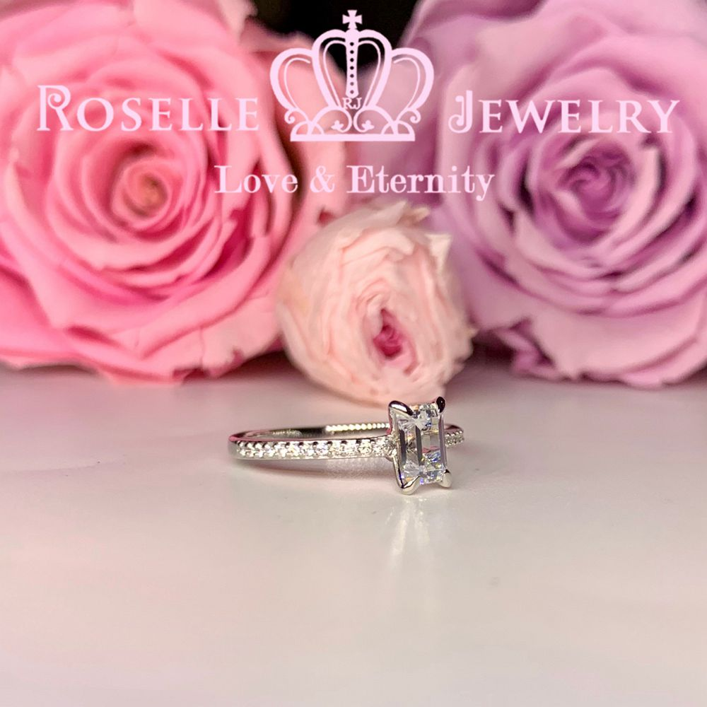 Emerald Cut Side Stone Engagement Ring - TE2 - Roselle Jewelry