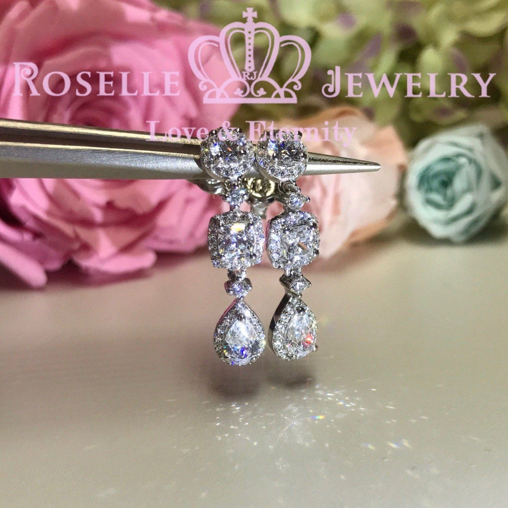 Three Stone Halol Drop Earrings - EP3 - Roselle Jewelry