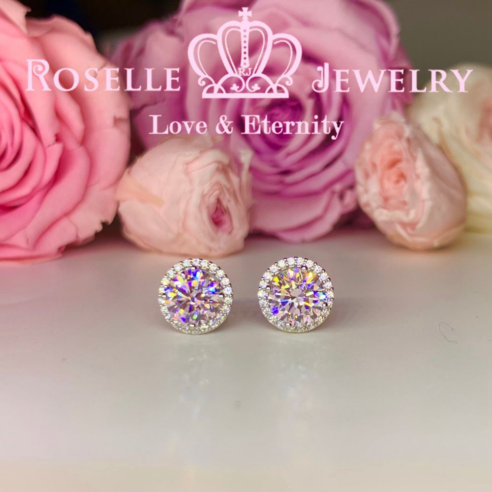 1.00CT Detachable Floral Stud Earrings - RR10 - Roselle Jewelry