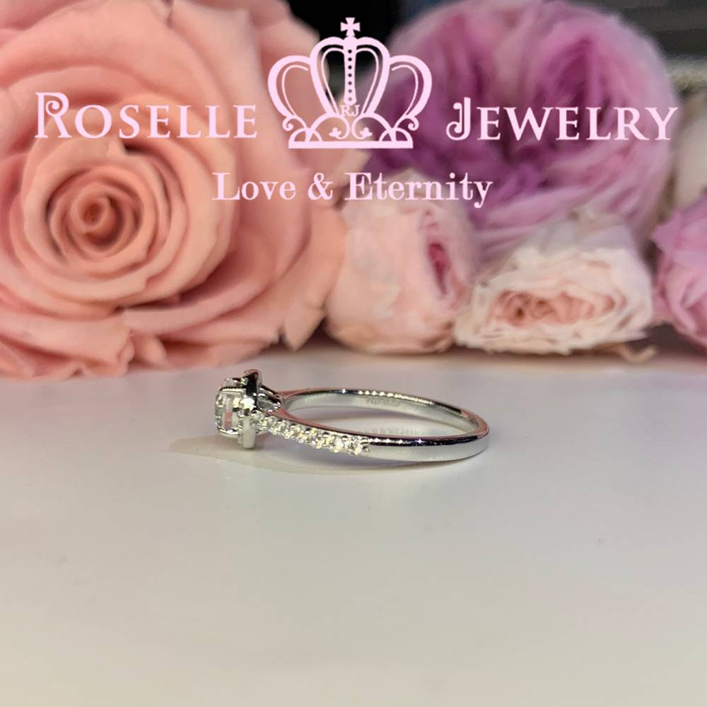 Halo Engagement Rings - V35 - Roselle Jewelry