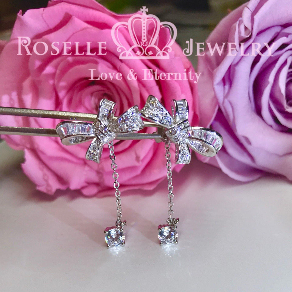 Detachable Ribbon Fashion Drop Earrings - DE11 - Roselle Jewelry