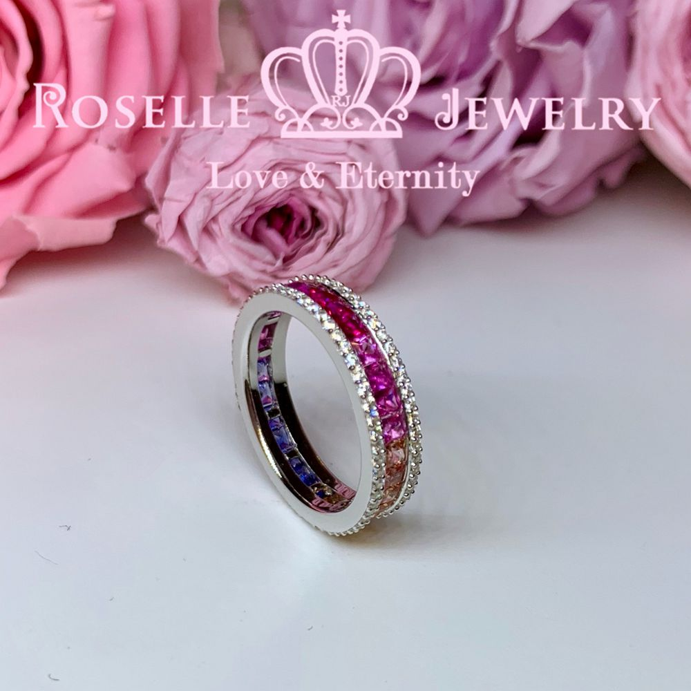Princess Cut Lab Grown Sapphire Rainbow Eternity Wedding Ring - RT4 - Roselle Jewelry