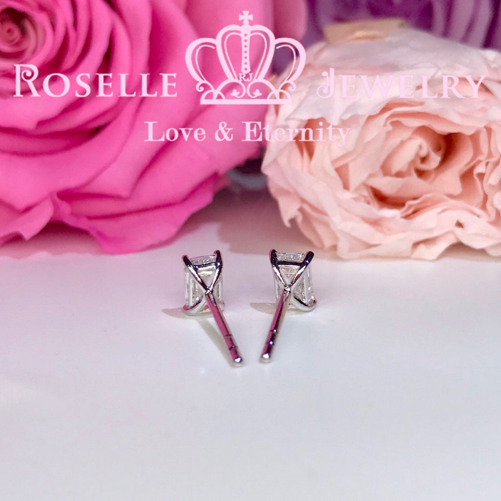 Detachable Emerald Cut Stud Earrings - EE1 - Roselle Jewelry