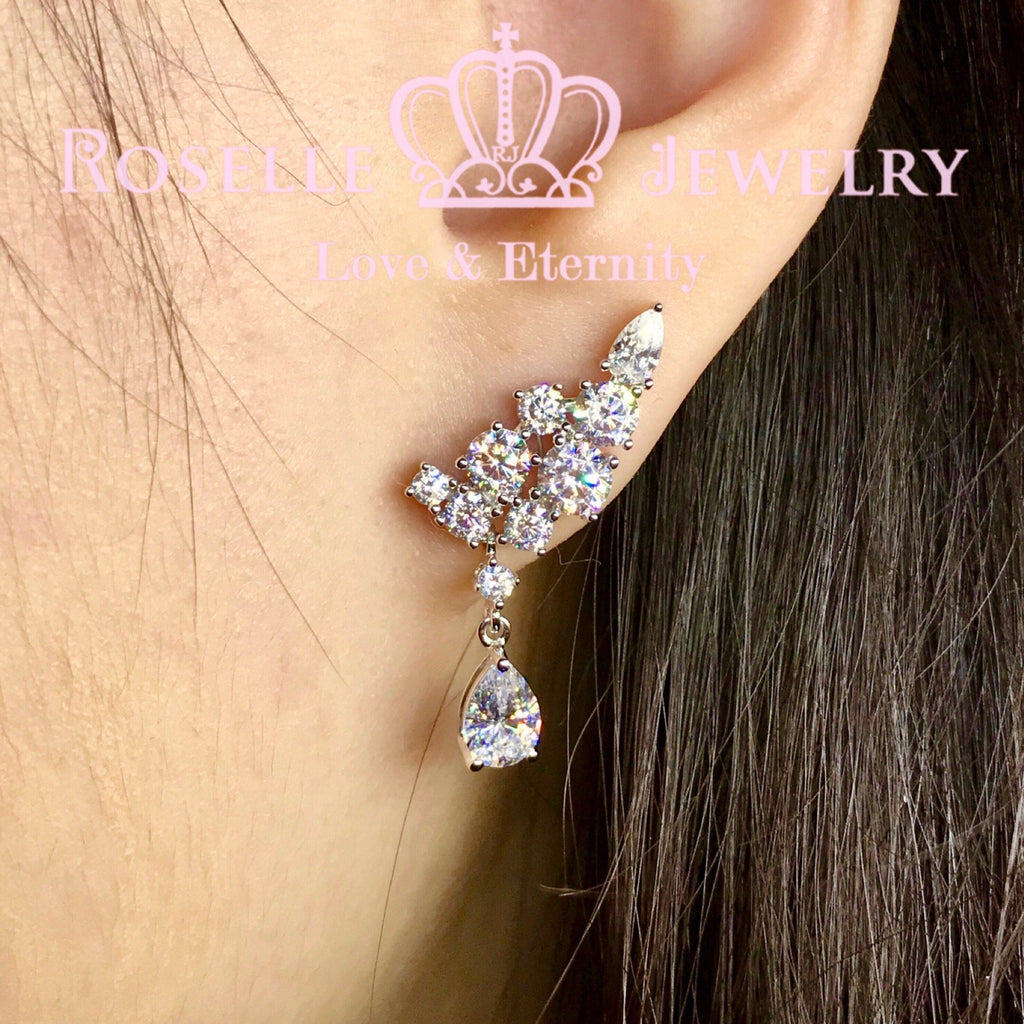 Sparkling Cluster Drop Earrings - DE12 - Roselle Jewelry