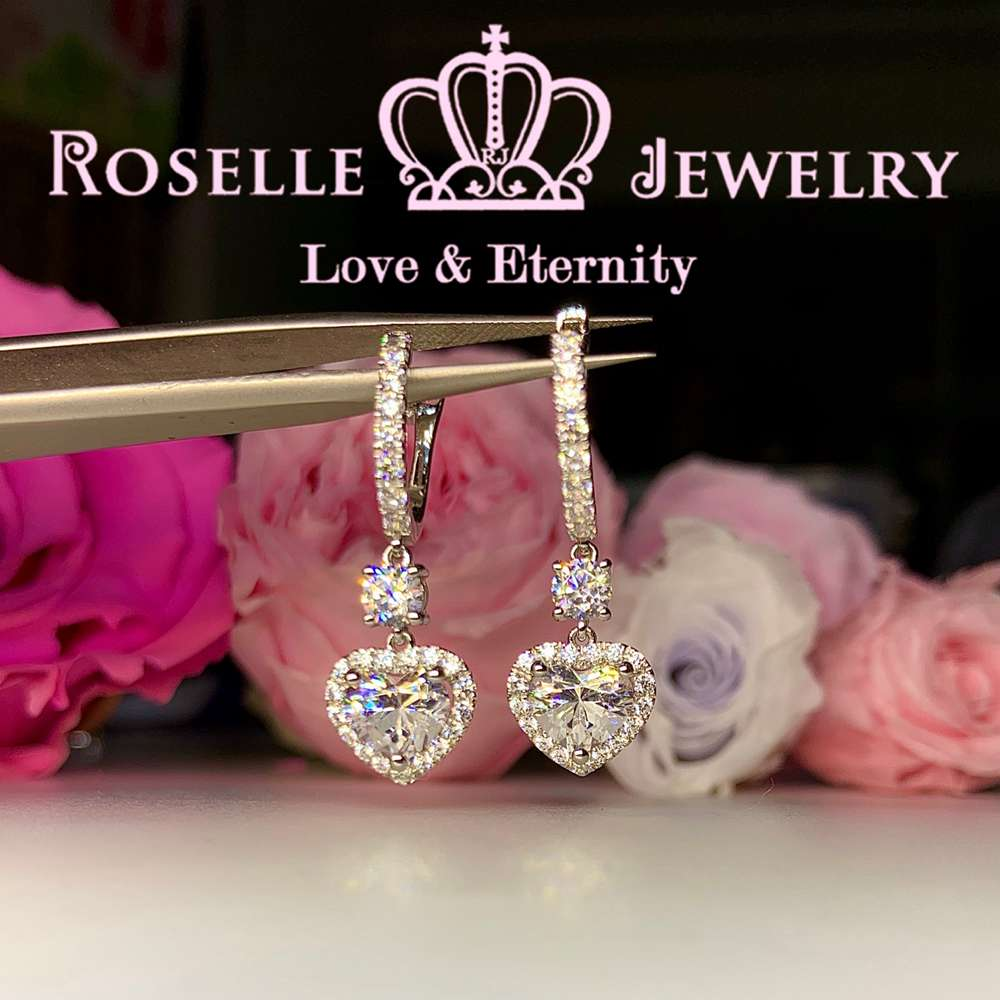 Sparkling Cluster Heart Shape Drop Earrings - DE17 - Roselle Jewelry