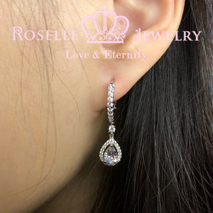 Pear Cut Halo Hoop Drop Earrings - EP5