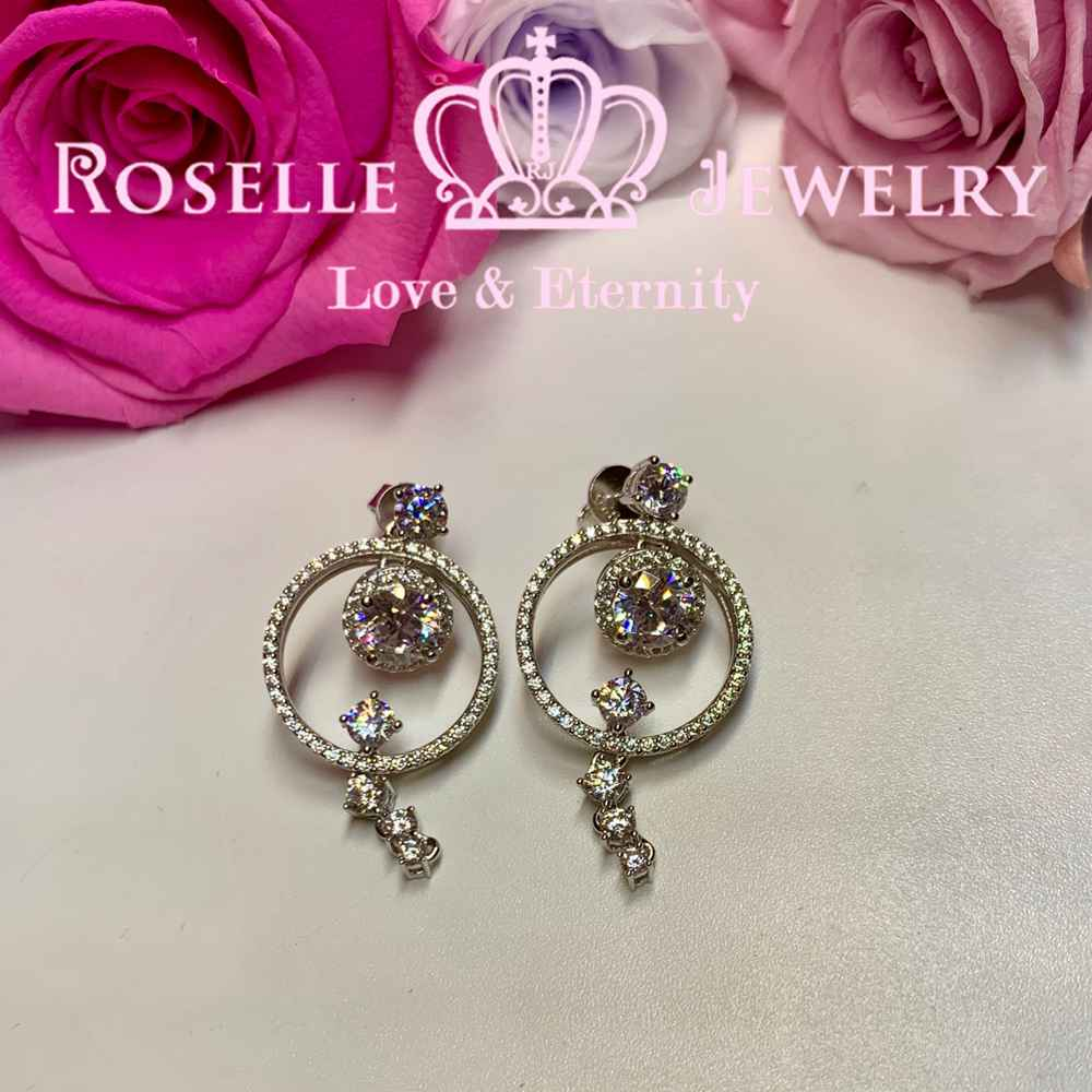 Sparkling Circle Drop Earrings - DE13 - Roselle Jewelry