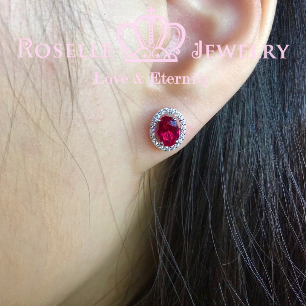 Detachable Oval Halo Stud Earrings - RR8 - Roselle Jewelry