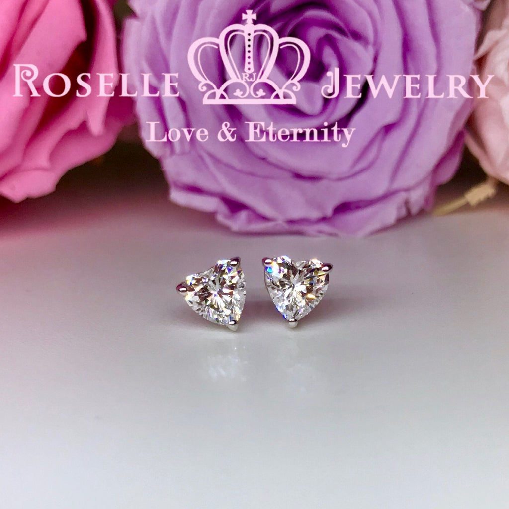 Detachable Heart Shape Halo Stud Earrings - RH2 - Roselle Jewelry