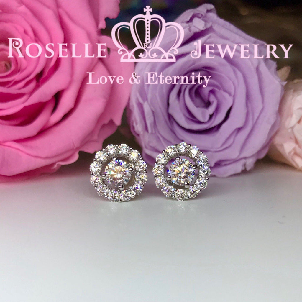 Detachable Halo Stud Earrings - RR5 - Roselle Jewelry