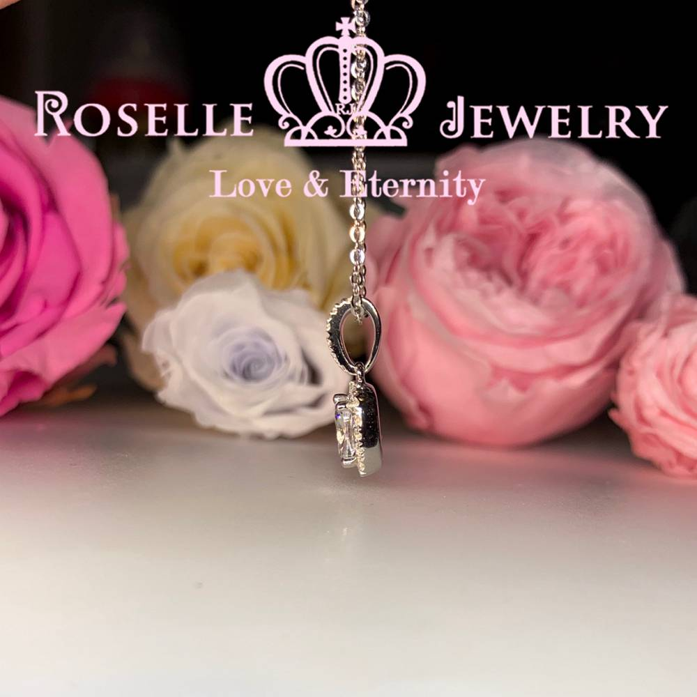 Halo Cushion Cut Drop Pendants - CH2 - Roselle Jewelry