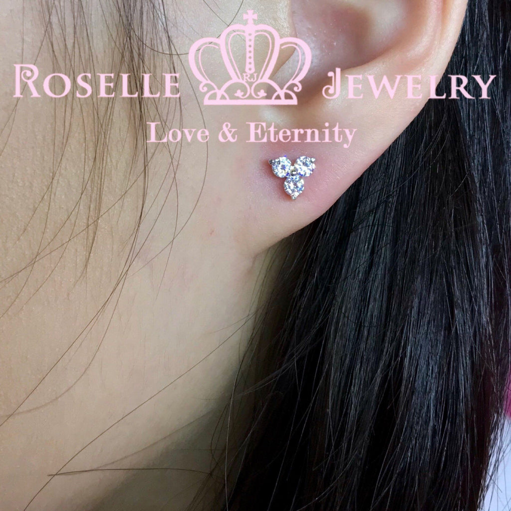 Three Stone Stud Earrings - HE2 - Roselle Jewelry