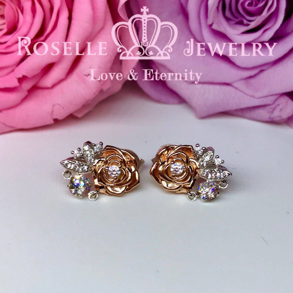 Rose Floral Dancing Stone Stud Earrings - ED4 - Roselle Jewelry
