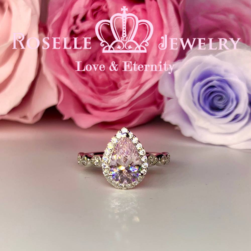 Pear Cut Halo Engagement Ring - VP6 - Roselle Jewelry