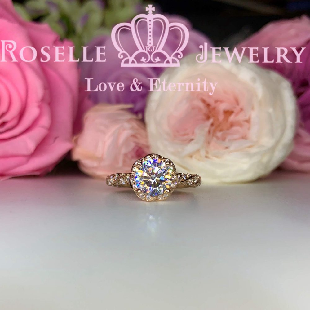 Floral Vintage Engagement Ring - V21 - Roselle Jewelry