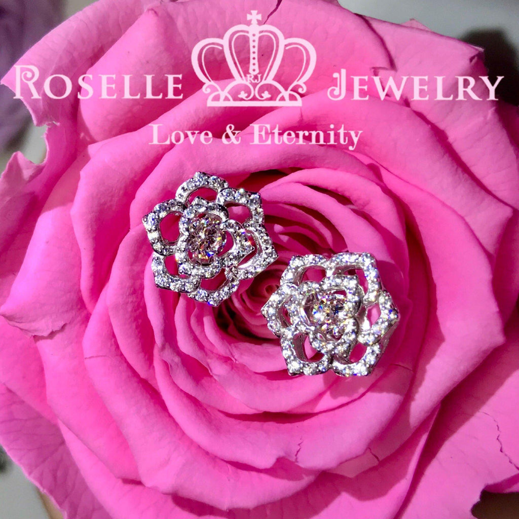 Rose Type Dancing Stone Stud Earrings - ED3 - Roselle Jewelry