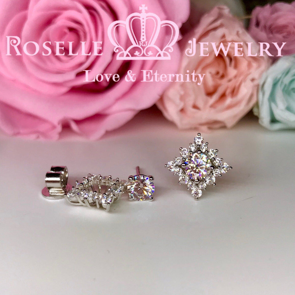 Detachable Floral Stud Earrings - RR4 - Roselle Jewelry