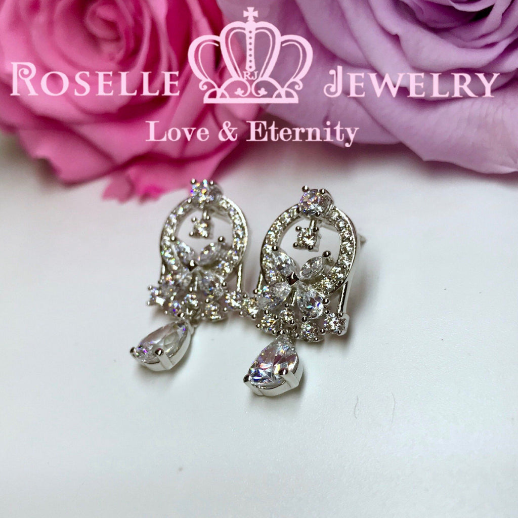 Butterfly Cluster Drop Earrings - DE8 - Roselle Jewelry