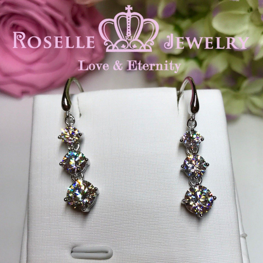 Three Stone Drop Earrings - RE1 - Roselle Jewelry