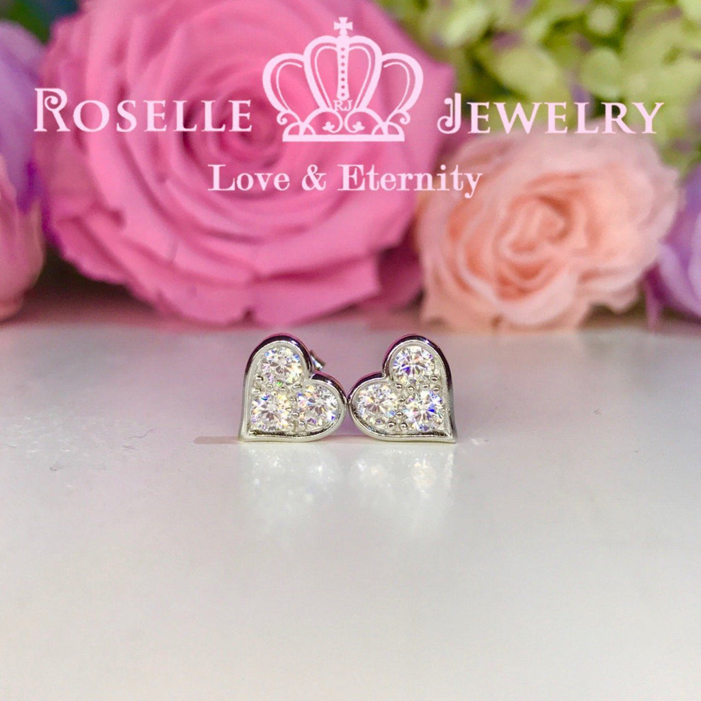 Heart Shape Stud Earrings - HE1 - Roselle Jewelry