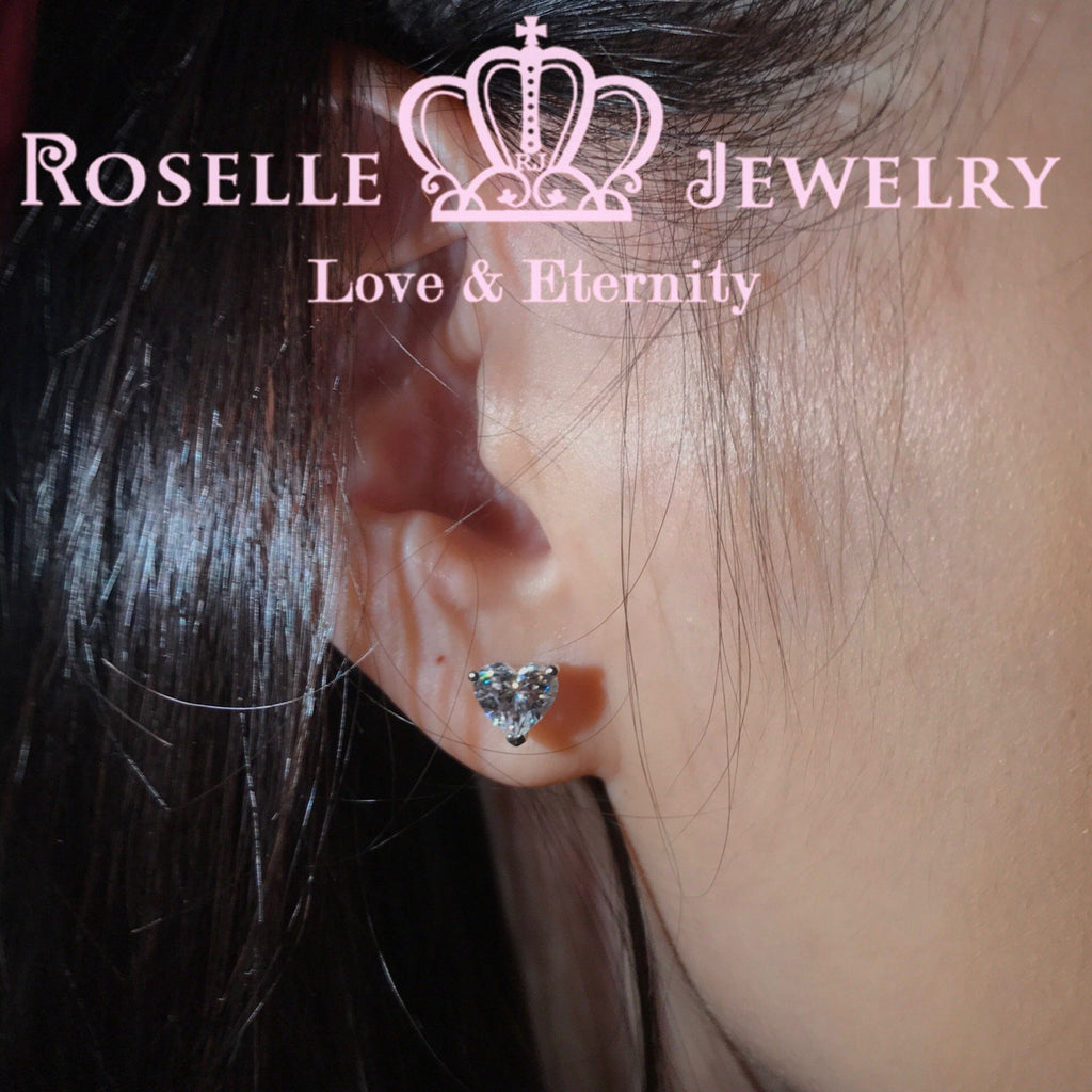 Happy Heart Shape Stud Earrings - EH2 - Roselle Jewelry
