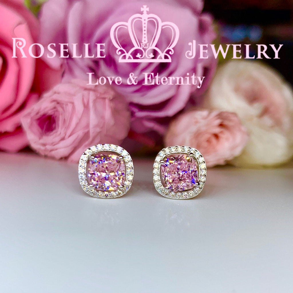 Detachable Cushion Cut Halo Stud Earrings - RR9 - Roselle Jewelry