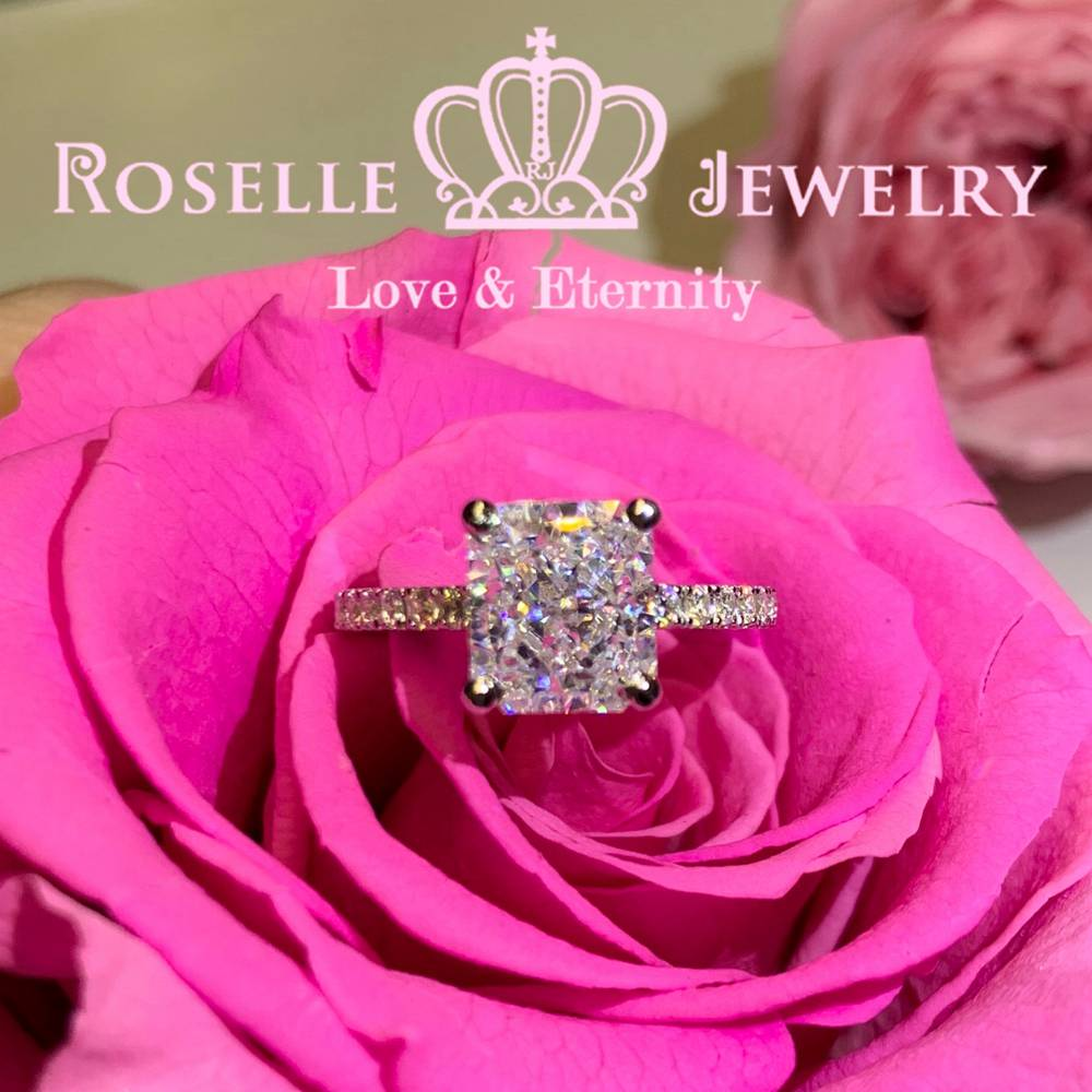 Radiant Cut Side Stone Engagement Ring - TR1 - Roselle Jewelry