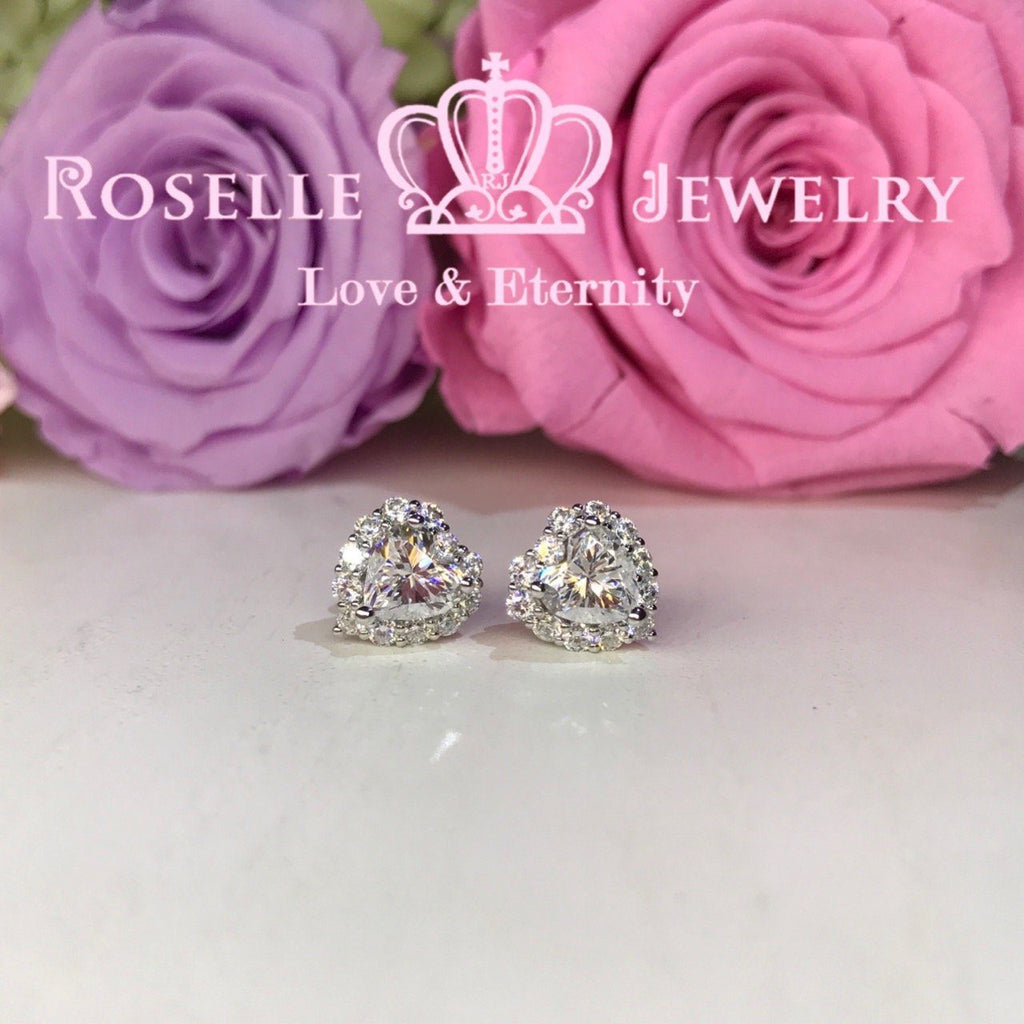 Detachable Heart Shape Halo Stud Earrings - RH1 - Roselle Jewelry