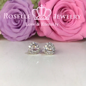 Detachable Heart Shape Halo Stud Earrings - RH1
