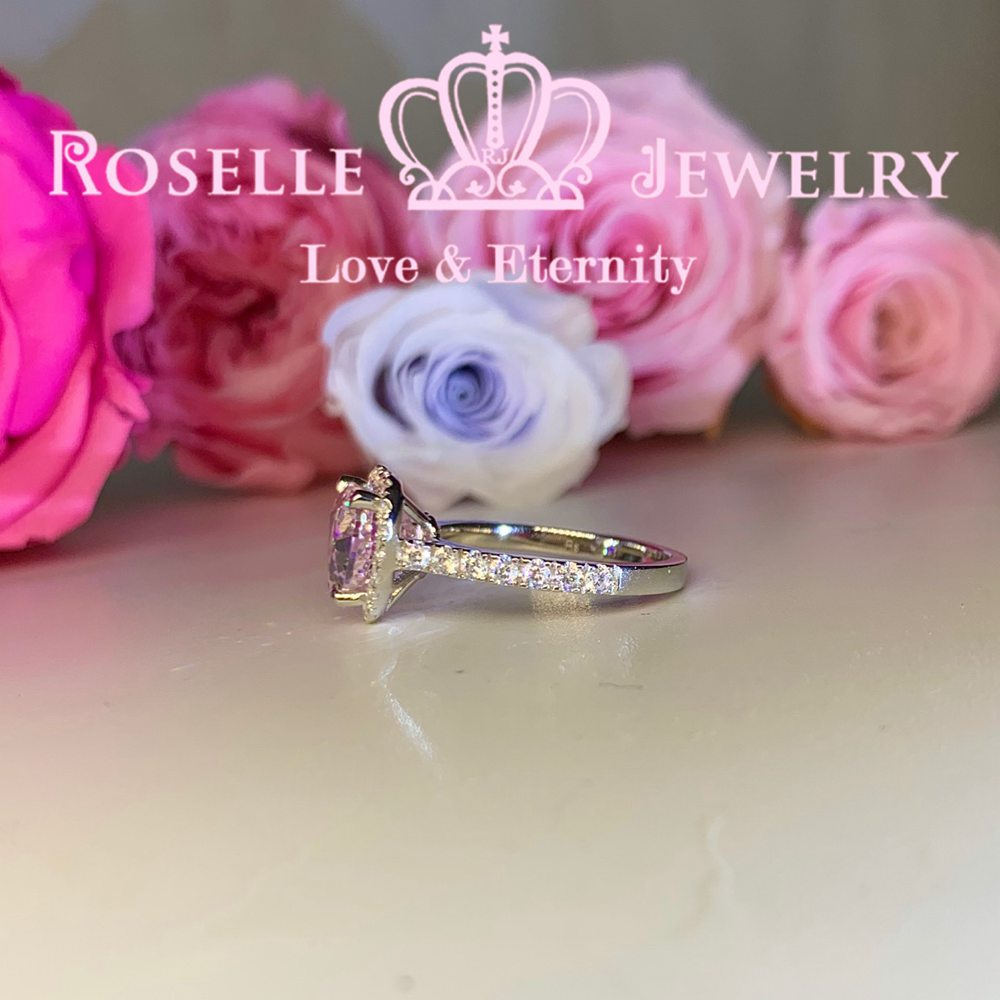 Happy Heart Shape Fancy Pink Side Stone Engagement Ring - VH5 - Roselle Jewelry