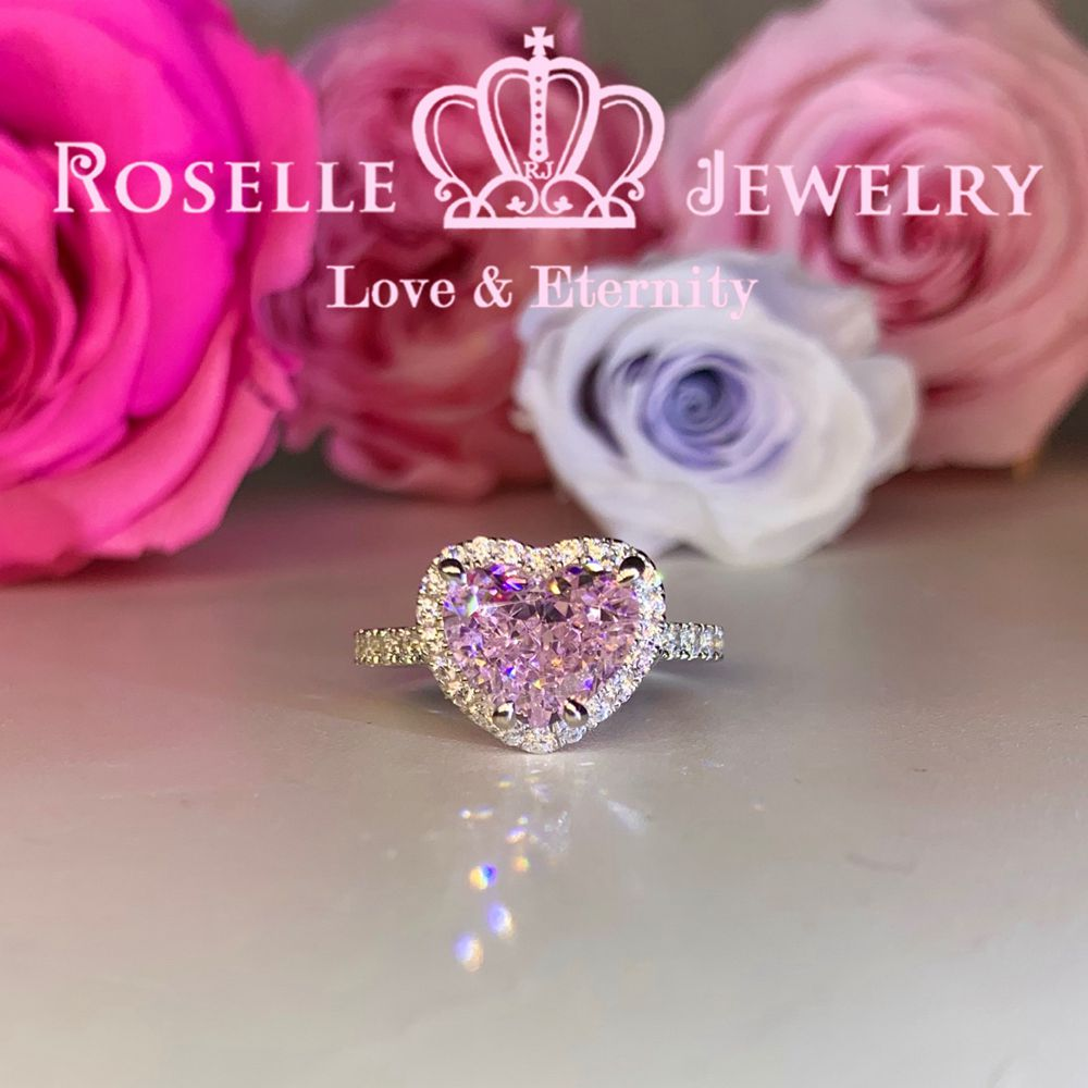 Happy Heart Shape Fancy Pink Side Stone Engagement Ring - VH5-ENGAGEMENT RING-Roselle Jewelry-Roselle Jewelry