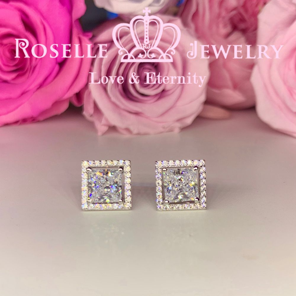 Princess Cut Detachable Stud Earrings - ES2 - Roselle Jewelry