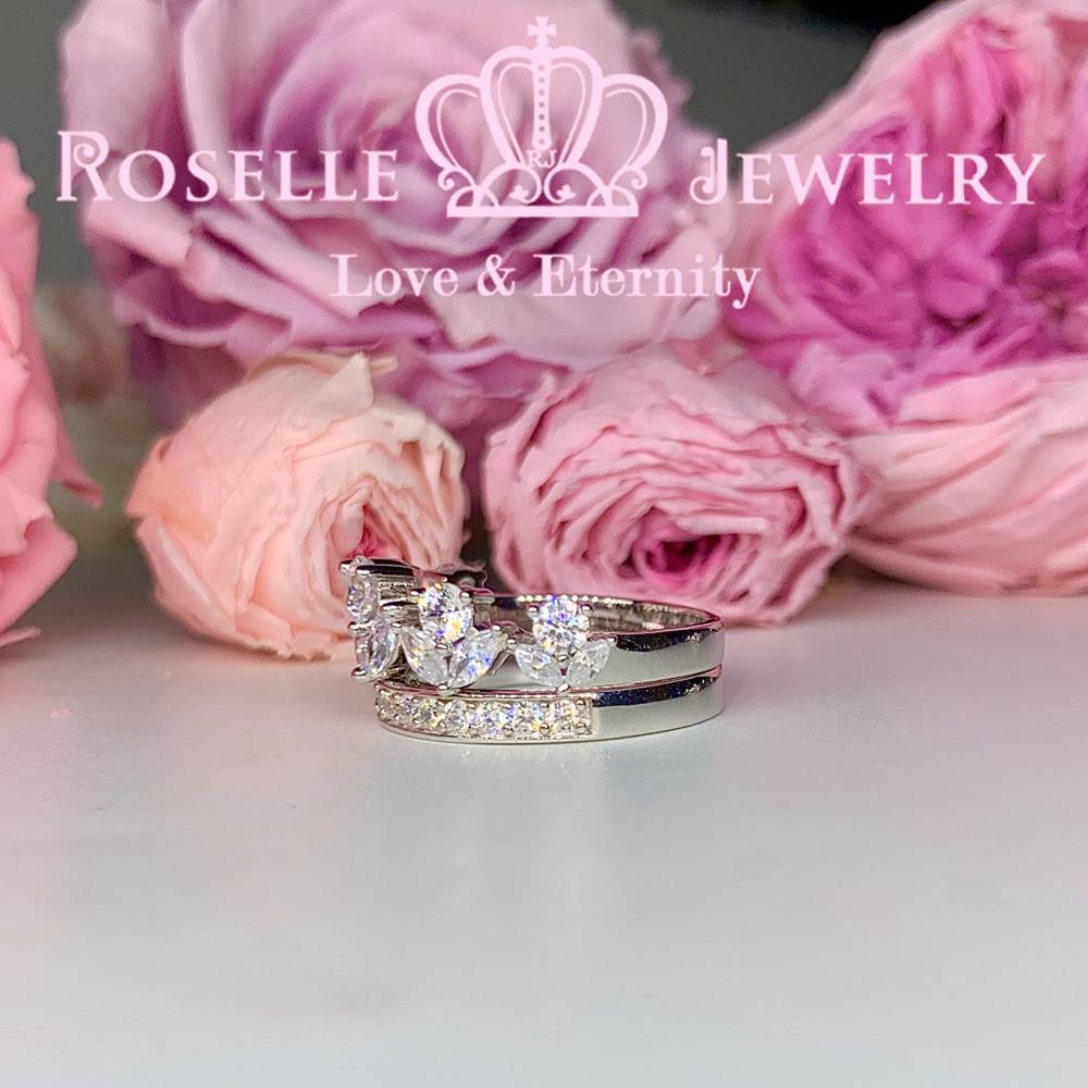 Crown Side Stone Engagement Ring Setting - TN2S - Roselle Jewelry