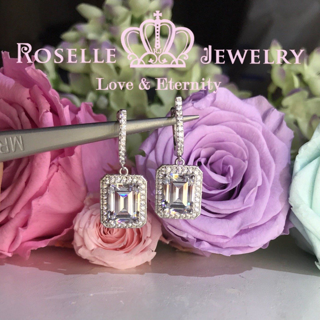 Emerald Cut Halo Drop Earrings - DE2 - Roselle Jewelry
