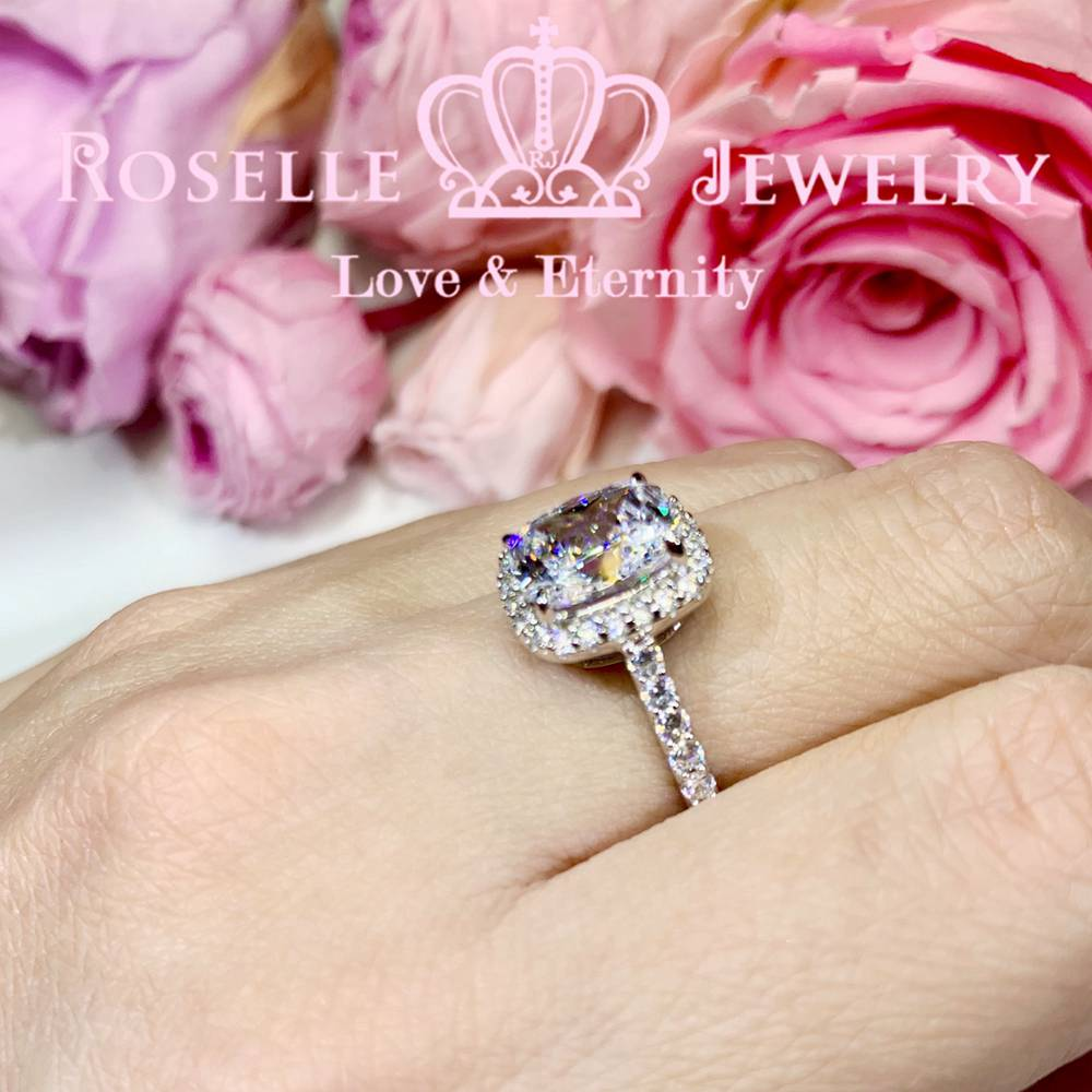 Cushion Cut Halo Engagement Ring - VC4 - Roselle Jewelry