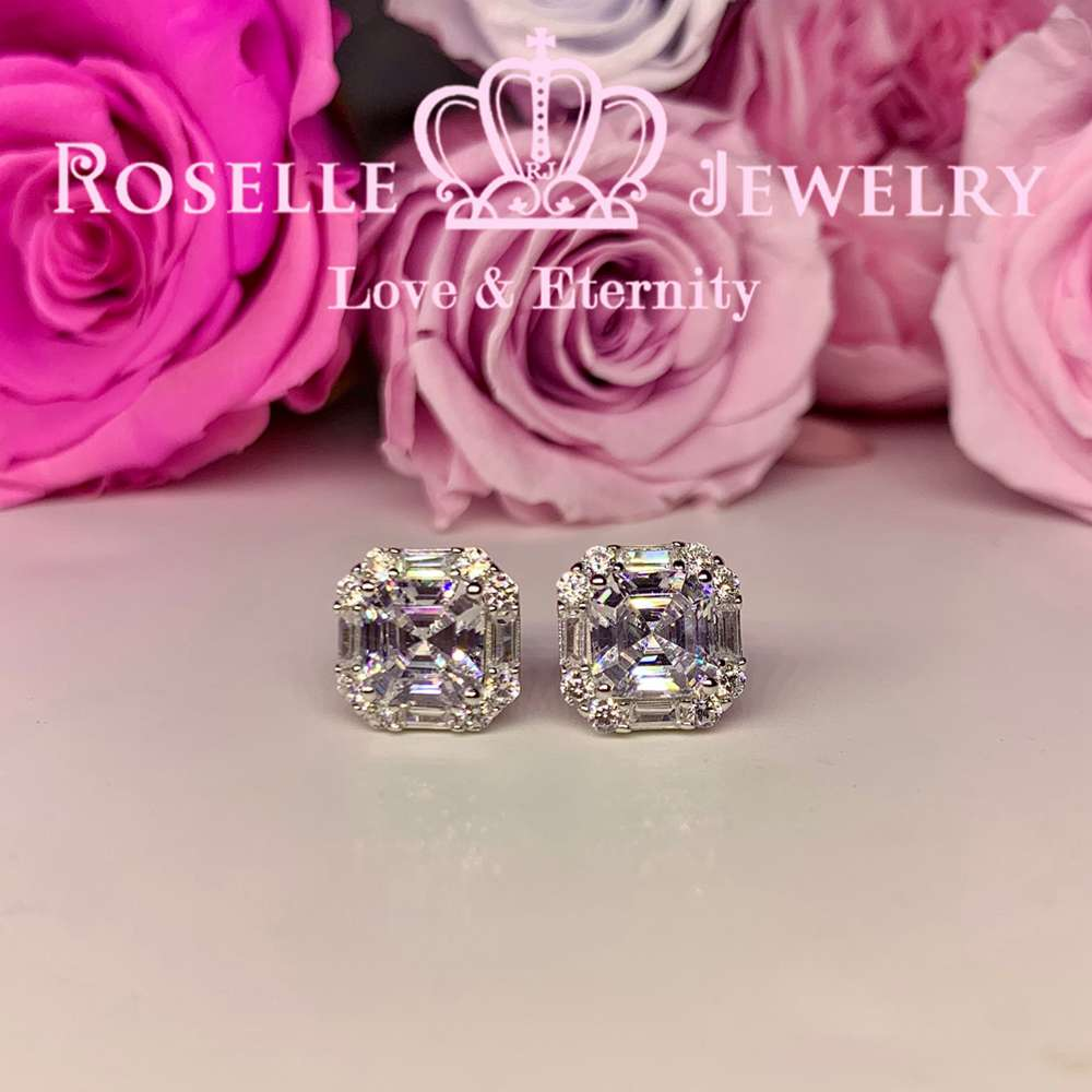 Asscher Cut Enclose Stud Earrings - EA1 - Roselle Jewelry