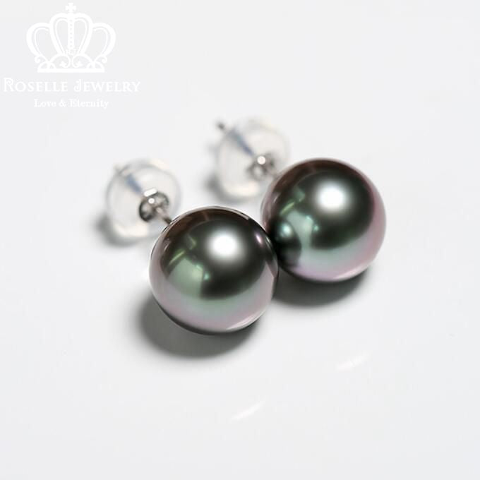 Tahitian Pearl 18K White Gold Stud Earrings - TPE1 - Roselle Jewelry