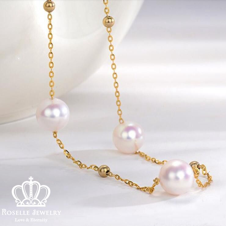 Akoya Pearl 18K Rose Gold Necklace - AKN2 - Roselle Jewelry