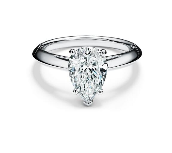 18K White Gold Pear Cut Solitaire Customize Engagement Ring - NP5 - Roselle Jewelry