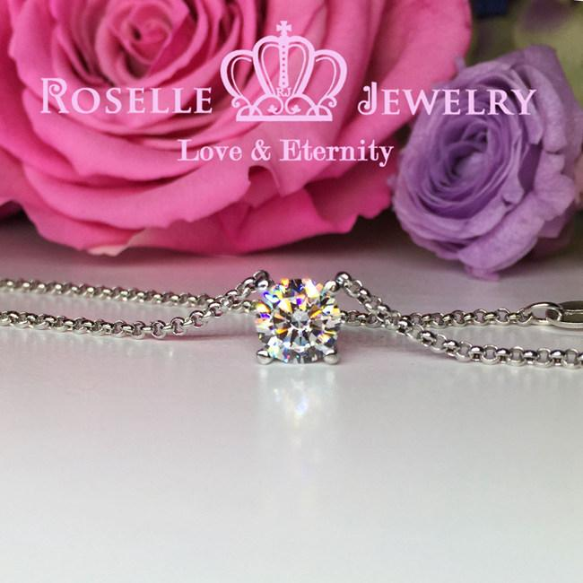 Four Prong Solitaire Necklaces - C2 - Roselle Jewelry