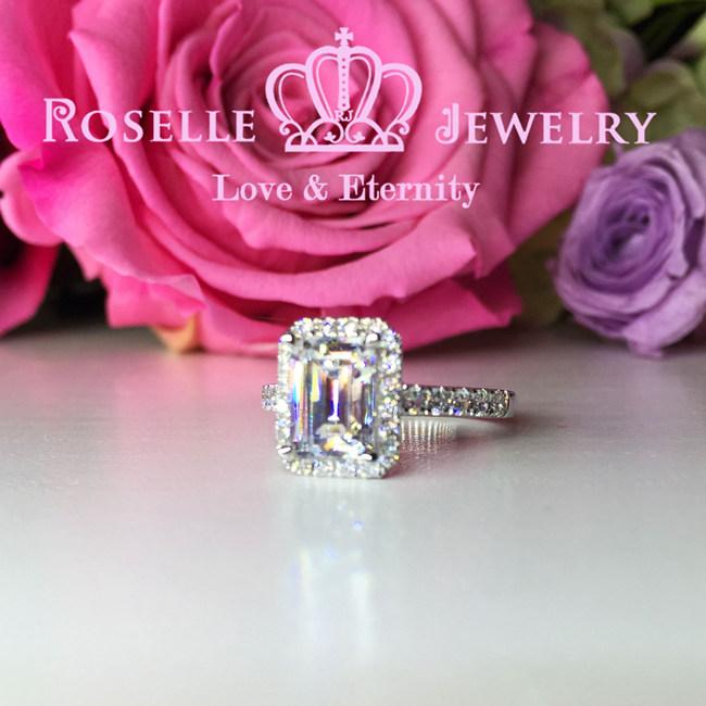 Emerald Cut Halo Engagement Ring - S10 - Roselle Jewelry