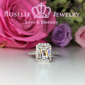 Emerald Cut Halo Engagement Ring - S10