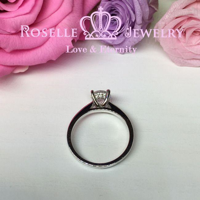 Four Prong Little Side Stone Engagement Ring - E29 - Roselle Jewelry