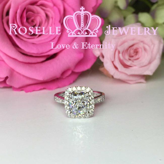 Cushion Cut Halo Engagement Ring - WY1PY1FY1 - Roselle Jewelry