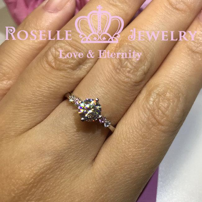 Round Brilliant Cut Side stone Engagement Ring - T20 - Roselle Jewelry