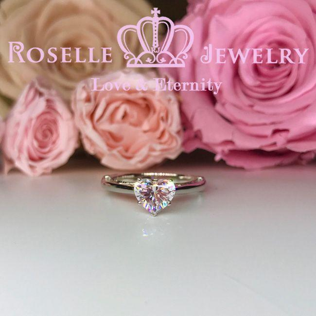 Vintage Heart Shape Solitaire Engagement Ring - VH3 - Roselle Jewelry
