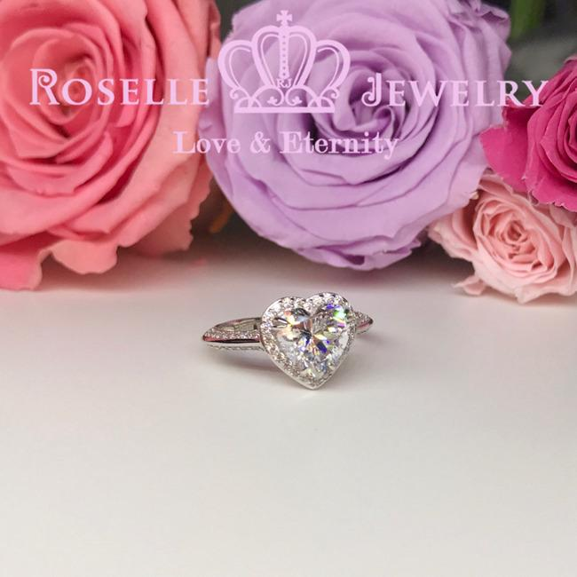 Heart Shape Halo Engagement Ring - TH1 - Roselle Jewelry