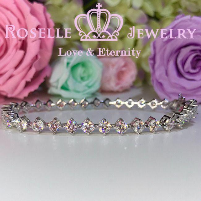 Round Brilliant Cut Four Prong Tennis Bracelet - B15 - Roselle Jewelry