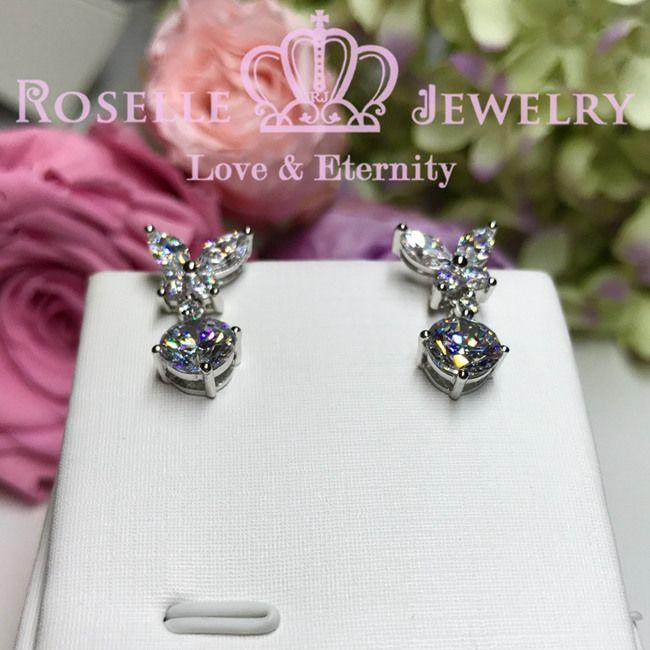Marquise Cut Butterfly Drop Earrings - EM3 - Roselle Jewelry