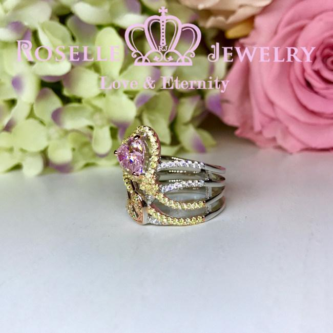 Heart Shaped Two Color Fashion Ring - BA15 - Roselle Jewelry